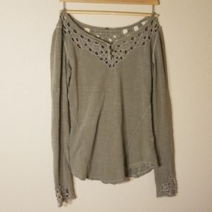 Free people 3 button cutout long sleeve T-shirt